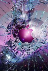 アップルロゴ壊れたガラスiPhone7壁紙