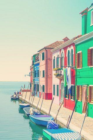 イタリアの都市ウォーターボートヴェネツィアのiPhone6壁紙