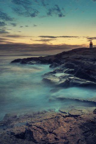 ロッキーオーシャンショア灯台サンセットiPhone 6 Plusの壁紙