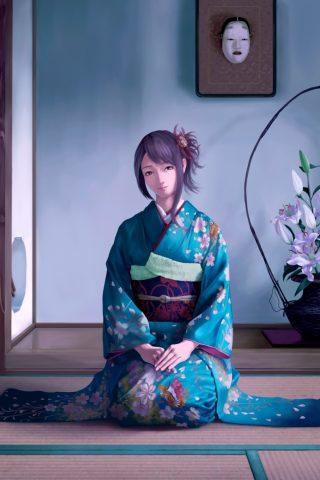 アニメ女子は彼女夫iPhone8 Plus壁紙を待っています