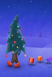 ウォーキングクリスマスツリーiPhone Xの壁紙