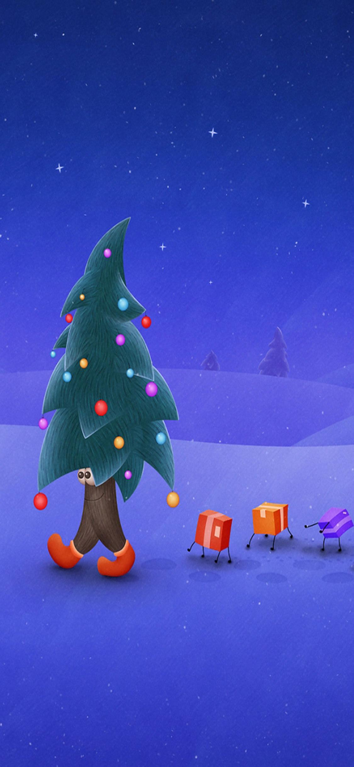 ウォーキングクリスマスツリーiphone Xの壁紙 Iphoneチーズ