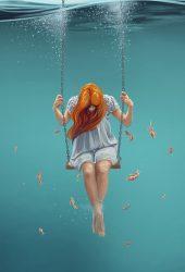 スイングの少女水中ファンタジーイラストiPhone6の壁紙