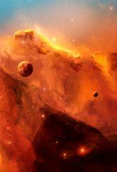 スペース雲惑星イラストiPhone5壁紙