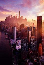 ニューヨーク日没市スカイラインiPhone5壁紙
