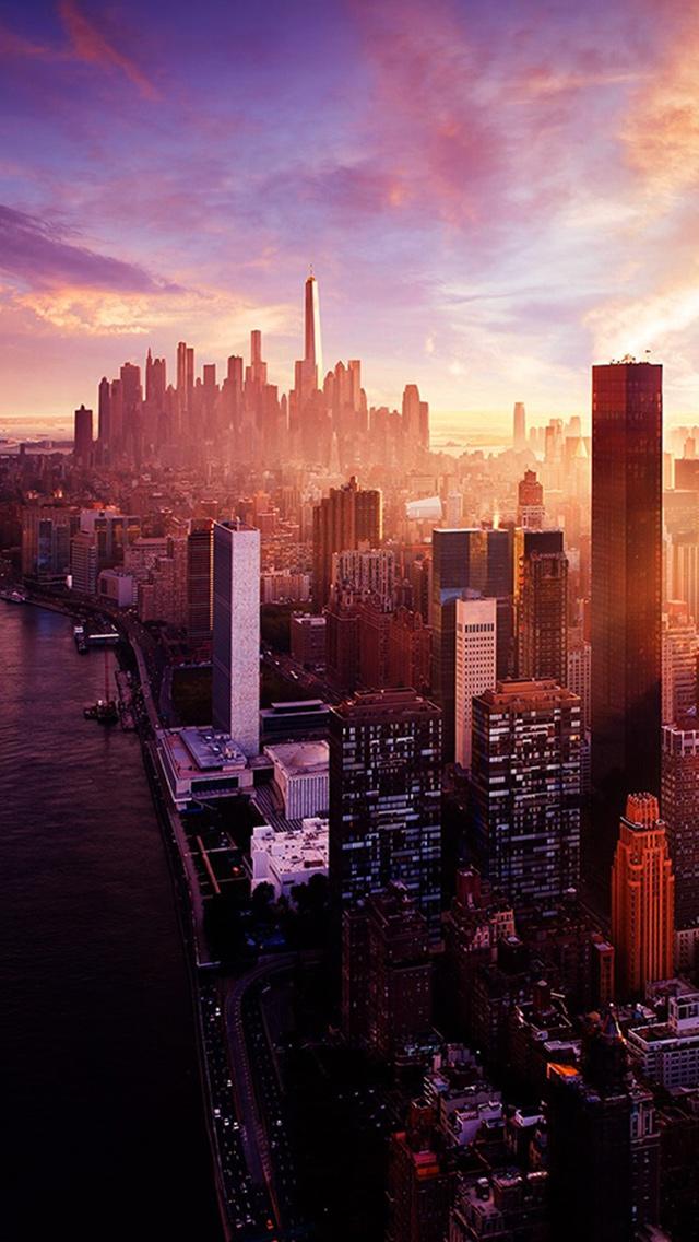 ニューヨーク日没市スカイラインiphone5壁紙 Iphoneチーズ