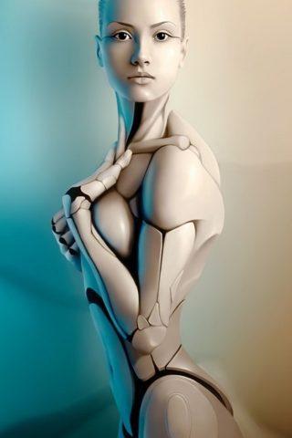 ホット女性ロボットクリエイティブレンダリングiPhone5壁紙