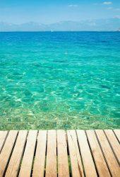 熱帯海洋クリアウォーター木製の橋iPhone5の壁紙