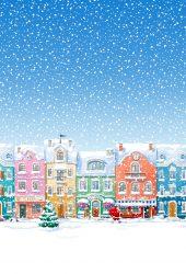 雪に覆われた町サンタクロースはクリスマスiPhone8 Plus壁紙をお届け