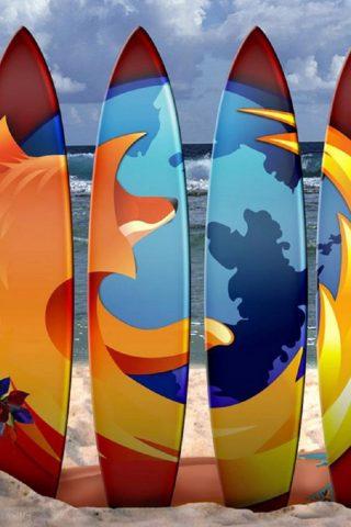 FirefoxサーフボードビーチiPhone8 Plus壁紙