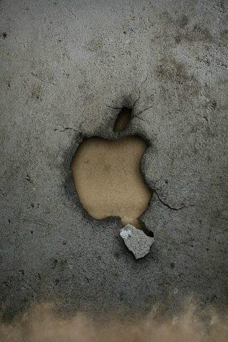 壊れたAppleロゴ壁iPhone 8壁紙