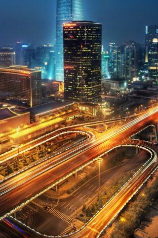 夜の北京中国iPhone8壁紙