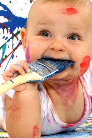 かわいい赤ちゃん面白いペイントiPhone X壁紙