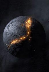 爆発の惑星抽象的なiPhone 7壁紙
