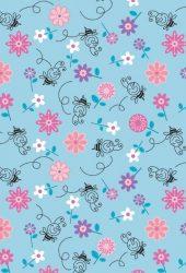 蜂と花のイラストパターンのiPhone5壁紙