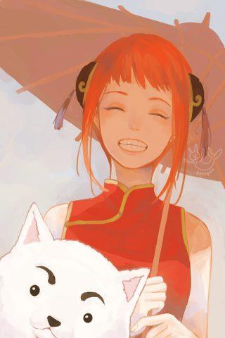 アニメの女の子と傘と猫iPhone壁紙