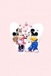 ミッキーとミニーバレンタインカップルiPhone 5壁紙