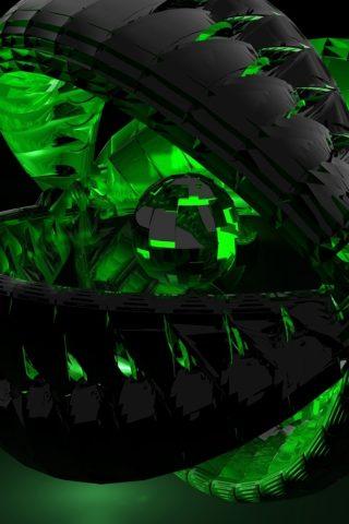3Dフォーム緑の影暗いiPhone 8 Plus壁紙
