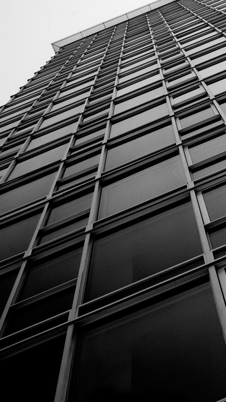 オフィスビルのウィンドウブラックホワイトiphone6アーキテクチャ壁紙