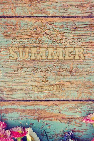 夏の旅行時間ウッドライティングiPhone8壁紙