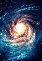 渦巻く銀河イラストiPhone5壁紙