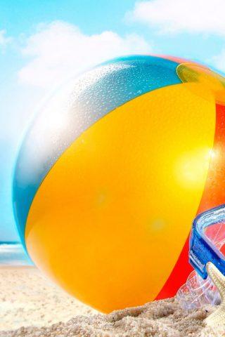 砂の夏のビーチボールiPhone8Plus壁紙