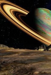 惑星土星宇宙リングiPhone8壁紙