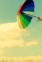 カラフルな傘フィールド雲iPhone 8 Plus壁紙