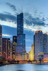 シカゴの高層ビルの朝iPhone6壁紙
