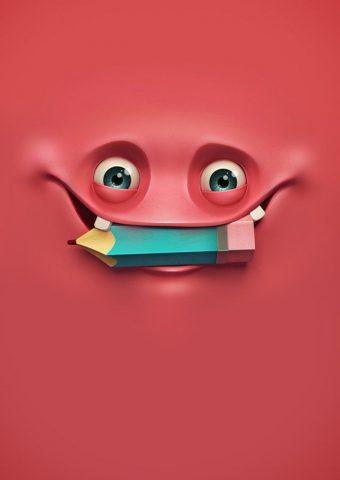 鉛筆で面白い顔iPhone壁紙
