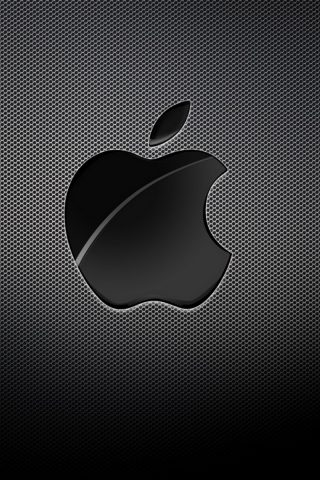 Appleロゴブラックグリッドの背景iPhone6壁紙