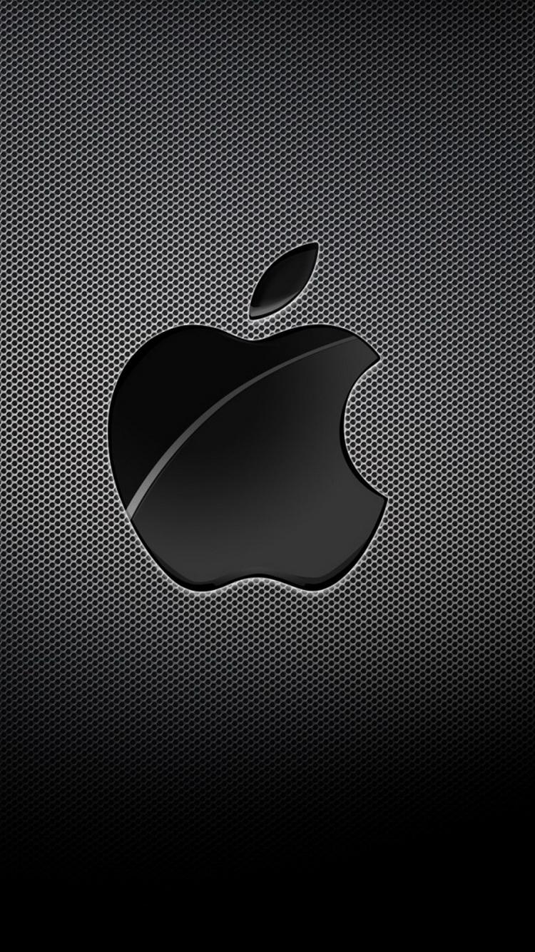Appleロゴブラックグリッドの背景iphone6壁紙 Iphoneチーズ