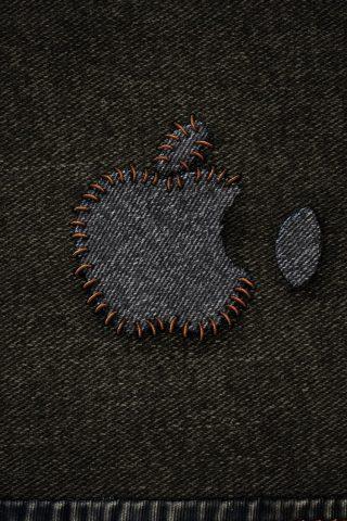 アップルデニムステッチロゴiPhone6壁紙