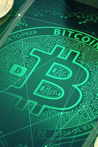 ビットコイン「Bitcoin」グリーンiPhoneX壁紙