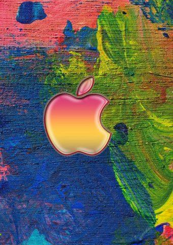 Appleロゴ、イーゼルペイントストロークiPhone6壁紙