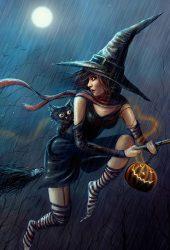 ハロウィンかわいい魔女フライングほうきiPhone6壁紙