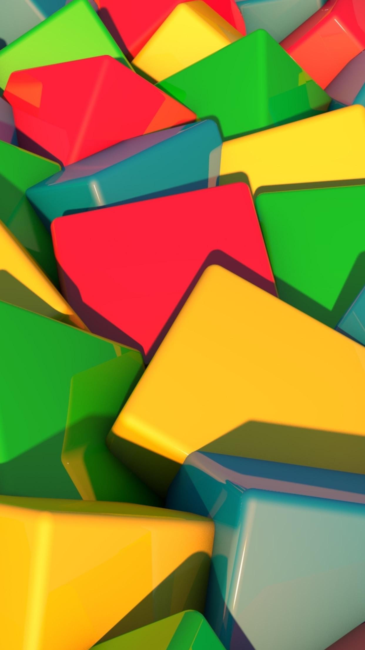ブロックの明るいマルチカラーiphone 6 Plus壁紙 1242 2208