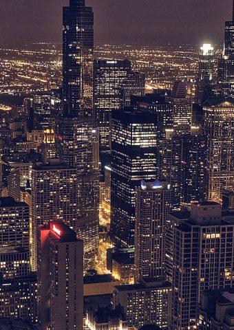 シカゴシティ航空夜景iPhone6Plus壁紙