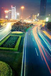 忙しい交通都市ライトナイトiPhone7Plus壁紙