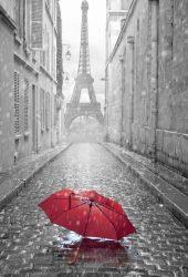 赤い傘パリ通り雨の日エッフェル塔iPhone5壁紙