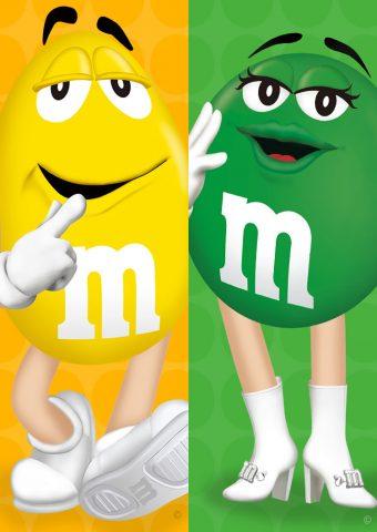 M&M'S(エムアンドエムズ)イエロー・グリーンiPhone8壁紙