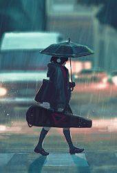 雨の日アニメのペイントガールiPhone XS Max壁紙