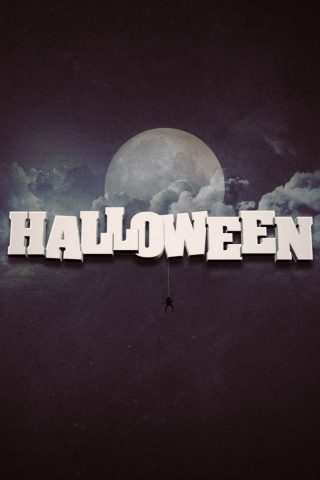 満月ハロウィーンのテキストiPhone6壁紙
