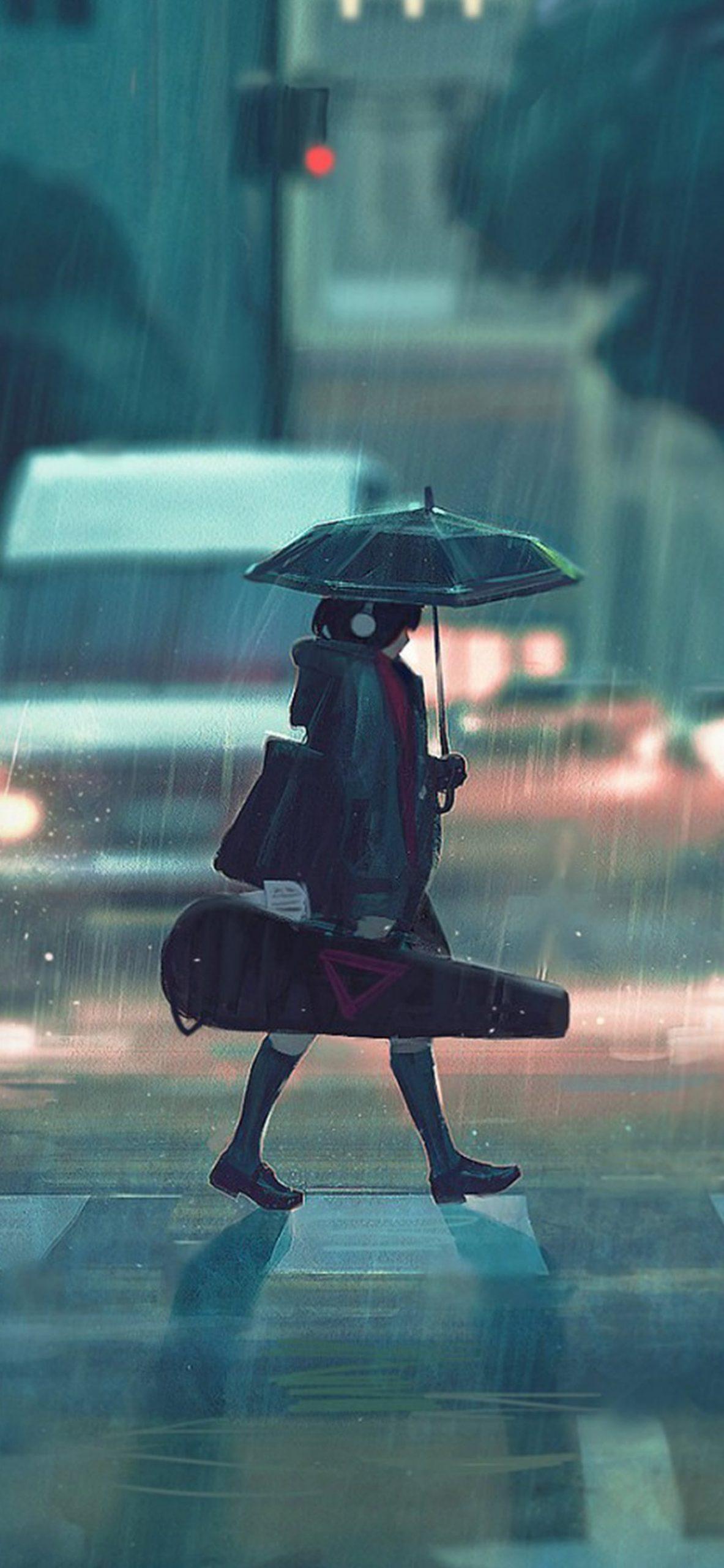 雨の日アニメのペイントガールiphone Xs Max壁紙 1242 26 Iphoneチーズ