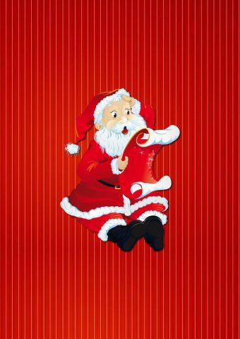 サンタクロースがギフトリストを読むiPhone8Plus壁紙