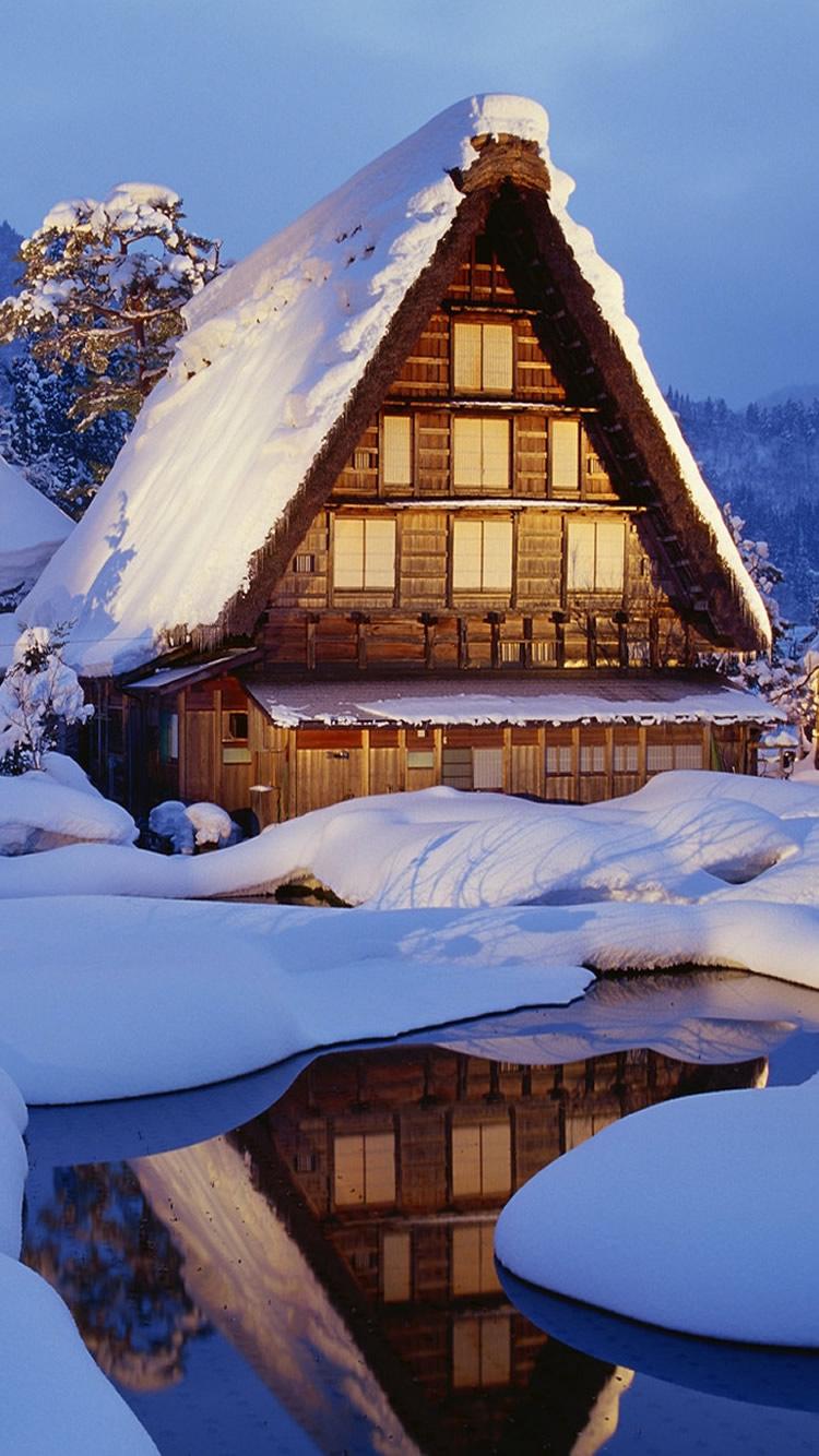 冬の雪ロッジ湖光反射iphone6建築壁紙 750 1334 Iphoneチーズ