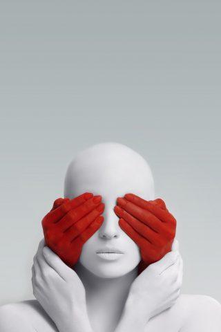 白い女の子と赤い手アートiPhone XS Max壁紙