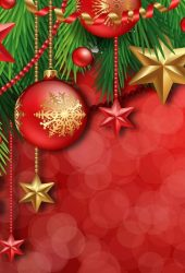 赤のクリスマスボールと星iPhone壁紙
