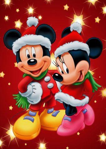 ミッキーマウスとミニークリスマスiPhone壁紙