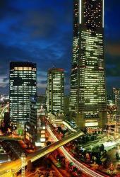 横浜イブニングメトロポリス開発都市ライトiPhone6壁紙